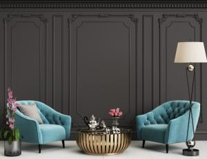 Classic interior with blue armchairs and floor lamp
